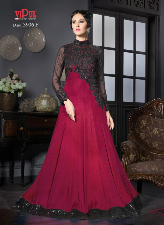 Magenta Art Silk Gown Style Anarkali By Vipul Fashion Vipul-3906F MAGENTA