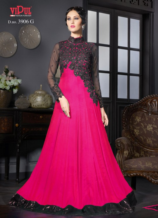 Pink Art Silk Gown Style Anarkali By Vipul Fashion Vipul-3906G PINK