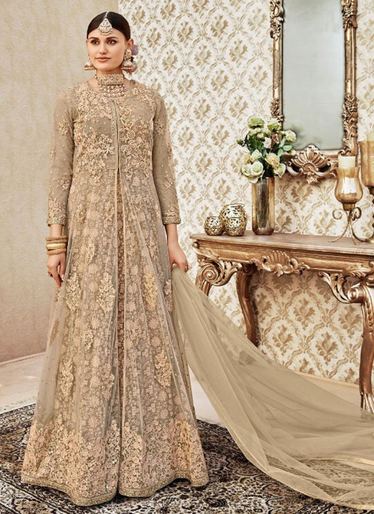 Beige Net Anarkali Suit By Vipul Fashion VIPUL-4402