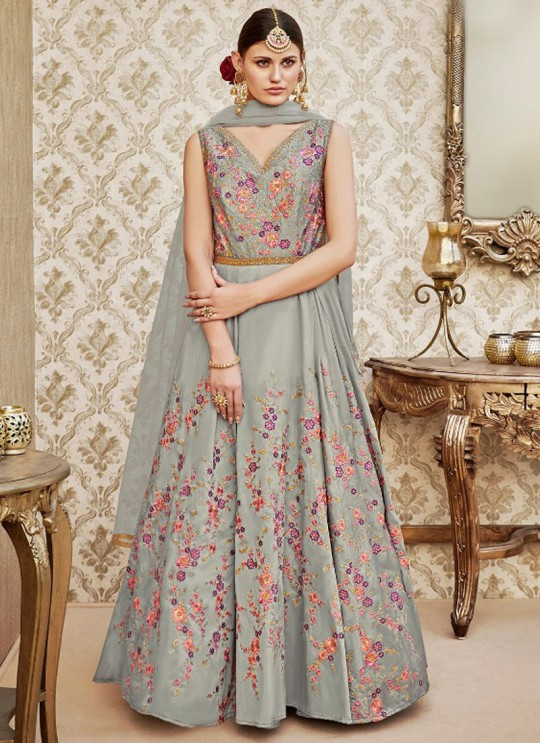 Grey Silk Gown Style Anarkali By Vipul Fashion VIPUL-4403