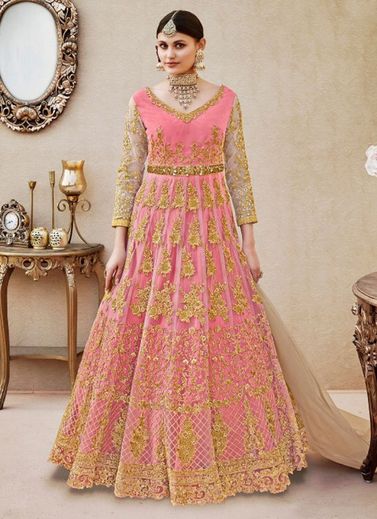 Pink Net Floor Length Anarkali By Vipul Fashion VIPUL-4404