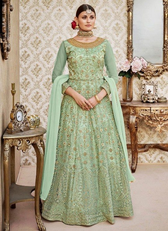 Green Net Floor Length Anarkali By Vipul Fashion VIPUL-4405