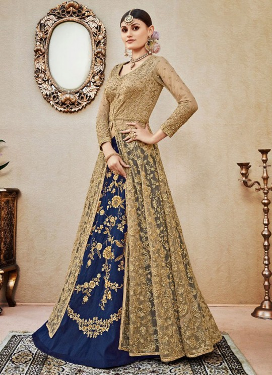 Beige N Blue Silk Skirt Kameez By Vipul Fashion VIPUL-4407