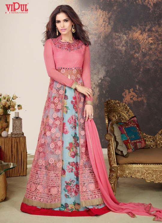 Pink Net Skirt Kameez By Vipul Fashion Vipul-8610