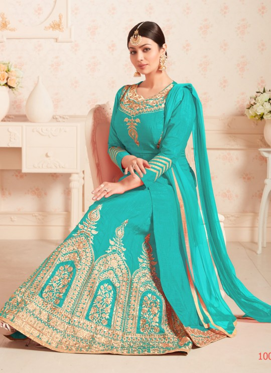 Turquoise Art Silk Jacket Style Suit Veer Vol-1 1002 By Volono Trendz