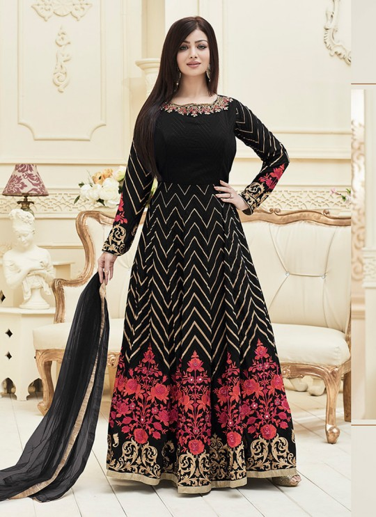 Black Faux Georgette Floor Length Anarkali Veer Prabhu Vol-3 1011 By Volono Trendz