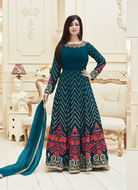 Teal Blue Faux Georgette Floor Length Anarkali Veer Prabhu Vol-3 1012 By Volono Trendz