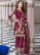 Magenta Faux Georgette Pant Style Suit Maryams 1001 By Volono Trendz