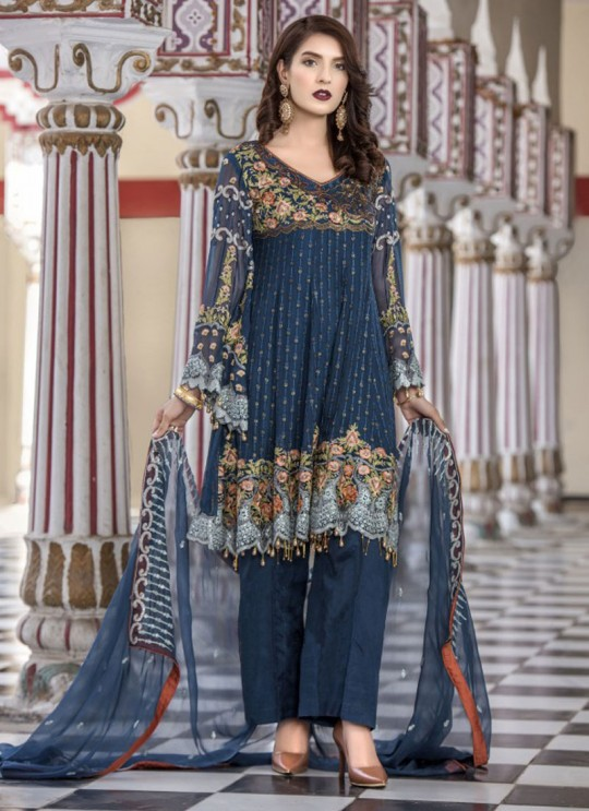 Blue Faux Georgette Pant Style Suit Maryams 1003 By Volono Trendz