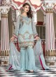 Turquoise Faux Georgette Gharara Suit Maryams 1004 By Volono Trendz