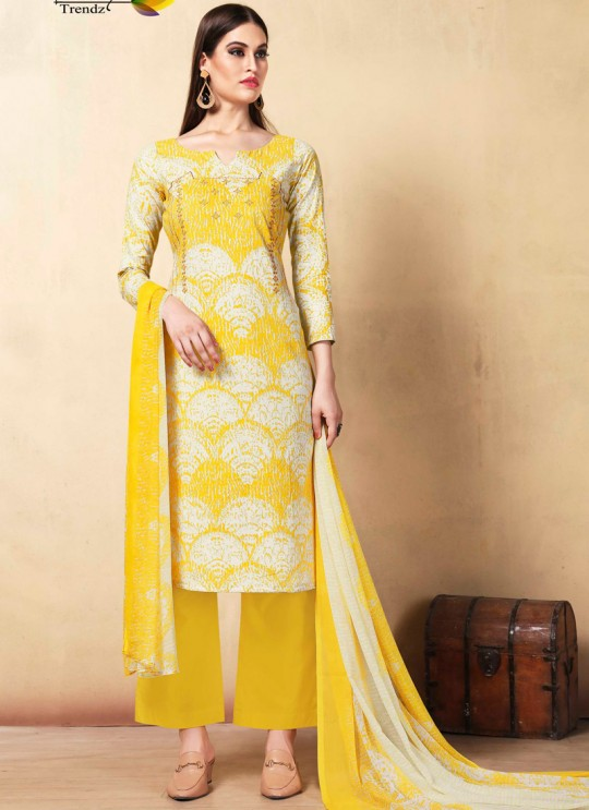 Yellow Cambric Cotton  Pant Style Suit Saidha vol 1 1001 By Volono Trendz