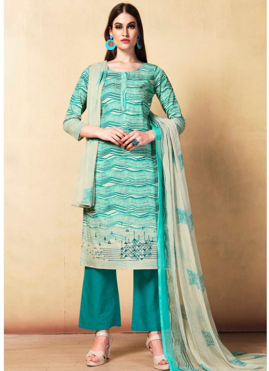 Sea Green Cambric Cotton  Pant Style Suit Saidha vol 1 1004 By Volono Trendz