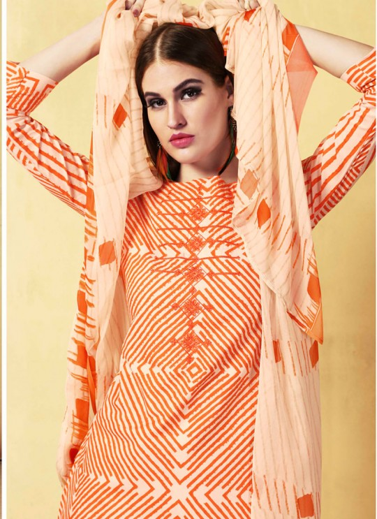 Orange Cambric Cotton  Pant Style Suit Saidha vol 1 1005 By Volono Trendz