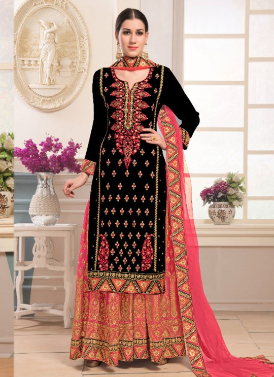 Black Faux Georgette Sharara kameez Bridal Vol-1 1001 By Volono Trendz