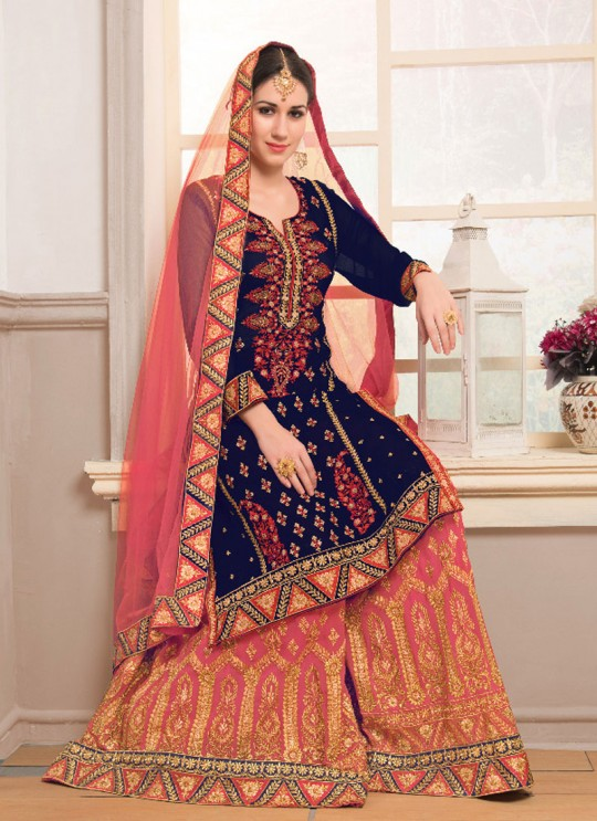 Blue Faux Georgette Sharara kameez Bridal Vol-1 1003 By Volono Trendz