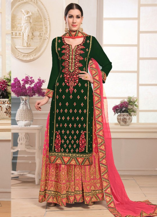 Green Faux Georgette Sharara kameez Bridal Vol-1 1004 By Volono Trendz