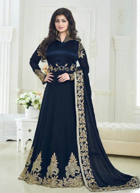 Blue Faux Georgette Floor Length Anarkali Pari Princess 179 By Volono Trendz