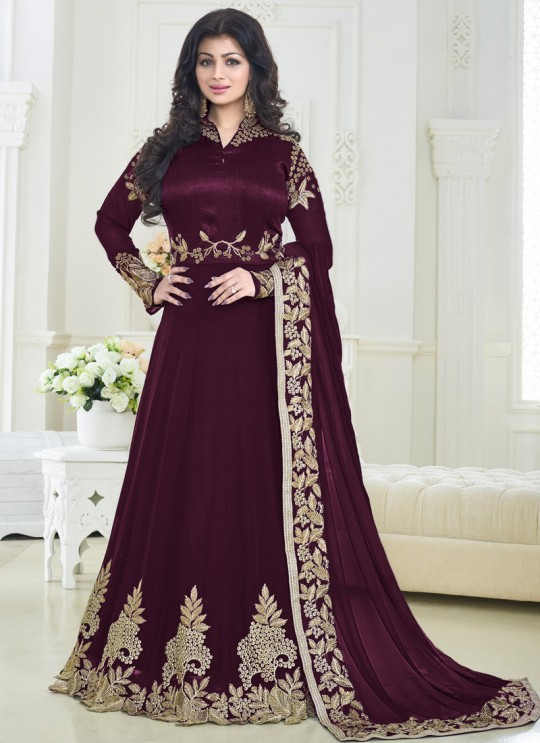 Magenta Faux Georgette N Art Silk Floor Length Anarkali Pari Princess 179B Color By Volono Trendz