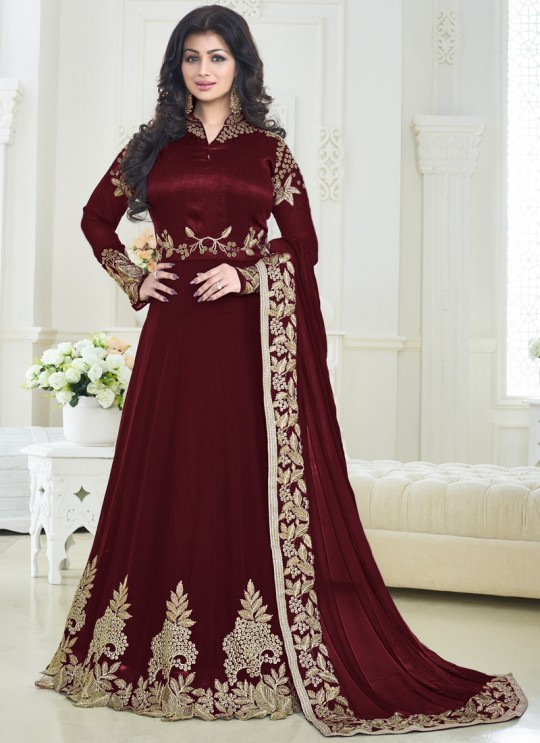 Wine Faux Georgette N Art Silk Floor Length Anarkali Pari Princess 179D Color By Volono Trendz