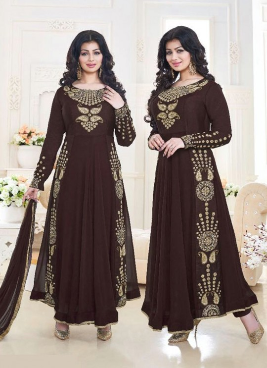 Brown Faux Georgette Anarkali Suit Pari Vol-6 183B Color By Volono Trendz