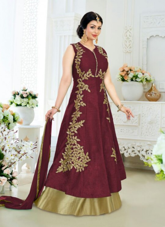 Maroon Art Silk Skirt Kameez Pari Vol-6 185C Color By Volono Trendz