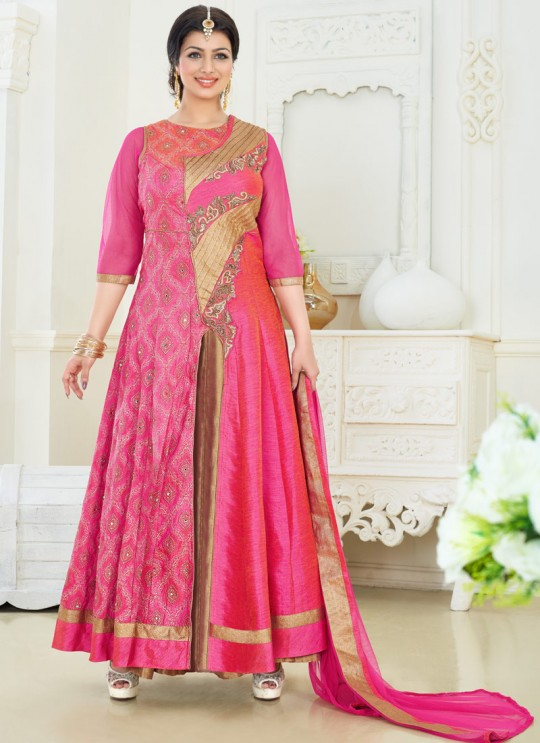 Pink Art Silk Anarkali Suit Pari Vol-6 186 By Volono Trendz