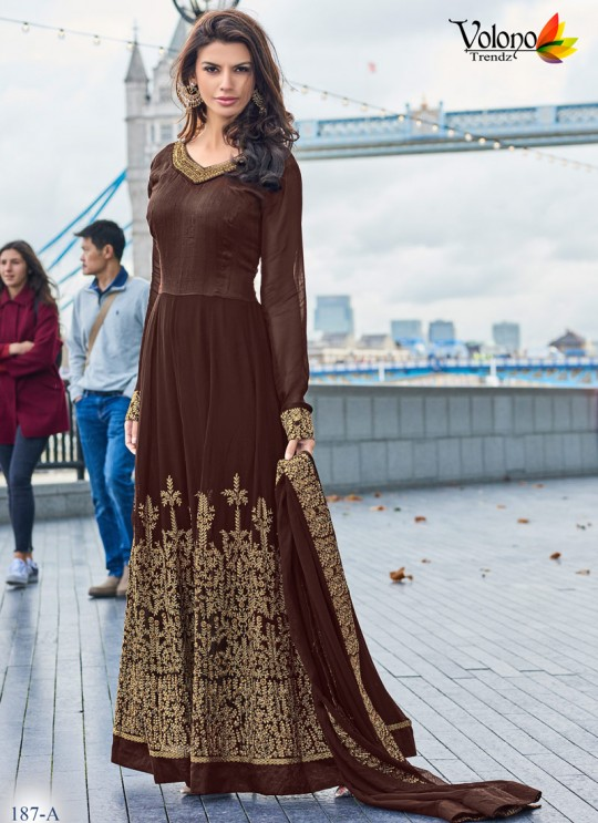 Brown Faux Georgette Floor Length Anarkali Pari Vol-7 187A Color By Volono Trendz