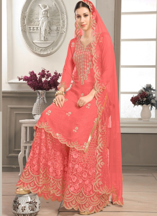 Orange Faux Georgette Sharara kameez Bridal Vol-2 2001 By Volono Trendz