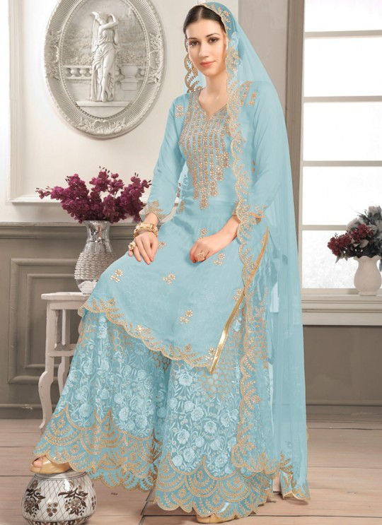 Turquoise Faux Georgette Sharara kameez Bridal Vol-2 2003 By Volono Trendz