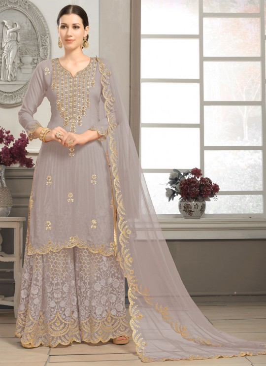 Grey Faux Georgette Sharara kameez Bridal Vol-2 2004 By Volono Trendz