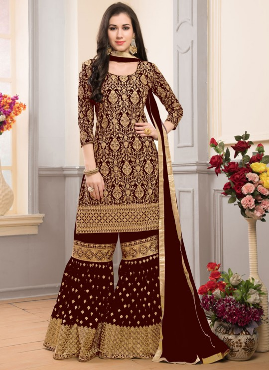 Brown Faux Georgette Gharara Suit Garara Vol-1 201C Color By Volono Trendz
