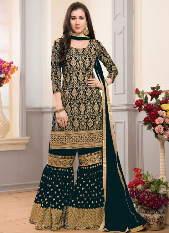 Green Faux Georgette Gharara Suit Garara Vol-1 201D Color By Volono Trendz