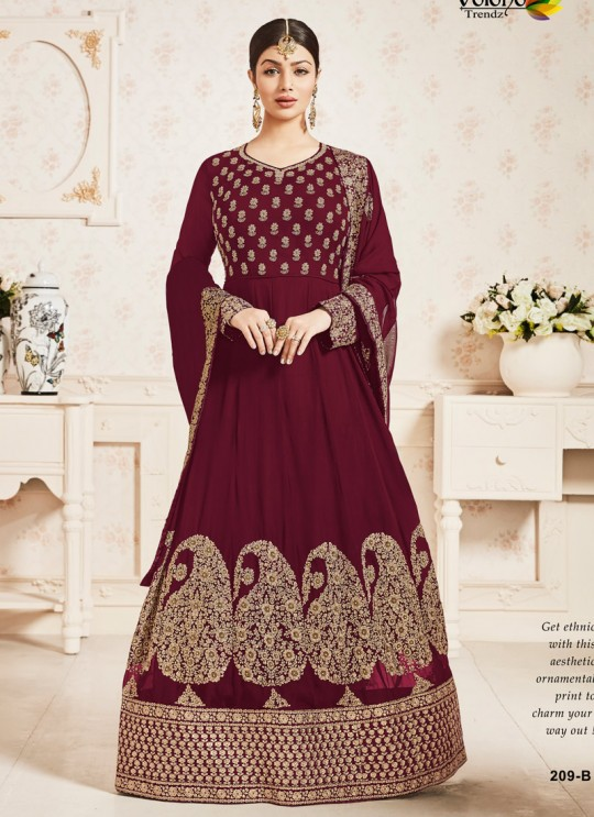 Maroon Faux Georgette Floor Length Anarkali Pari Vol-10 209B Color By Volono Trendz