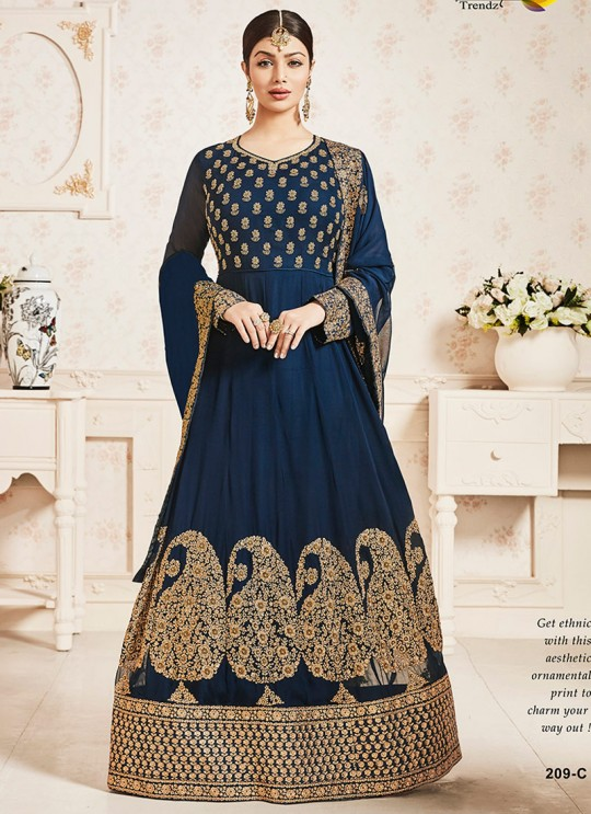 Blue Faux Georgette Floor Length Anarkali Pari Vol-10 209C Color By Volono Trendz