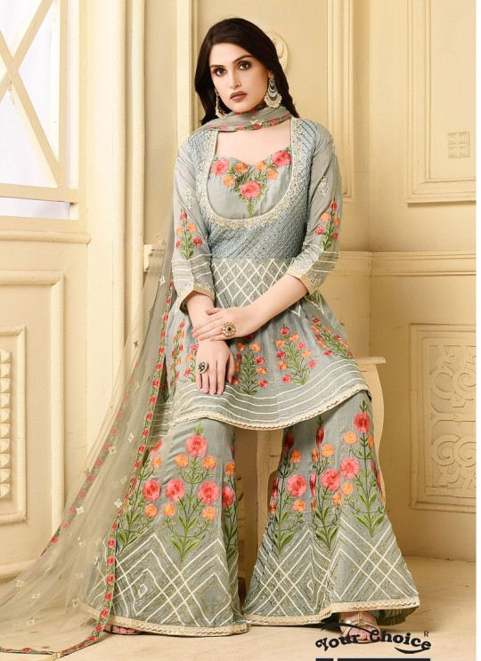 Yelllow, Peach Georgette Pakistani Sharara Suit CELEBRITY  2927 By Your Choice