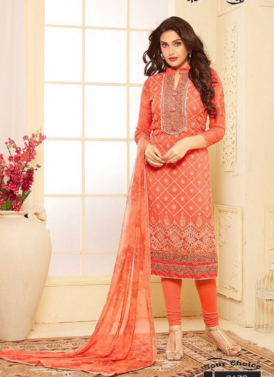 Orange Chiffon Churidar Suit B MORE 2679 By Your Choice