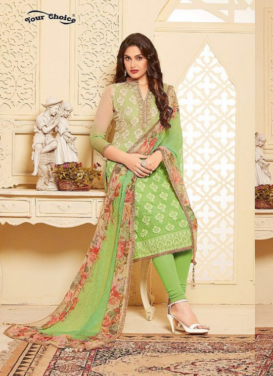 Green Chiffon Churidar Suit B MORE 2680 By Your Choice