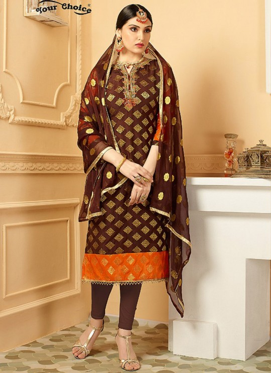 Wine Pure Banarsi Silk Straight Cut Suit DULHAN PURE BANARASI 2839 By Your Choice