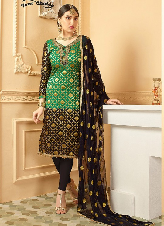Green Pure Banarsi Silk Straight Cut Suit DULHAN PURE BANARASI 2841 By Your Choice