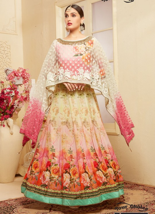 Pink Georgette Anarkali With Cape Top DEERHAM 2 2678 By Your Choice