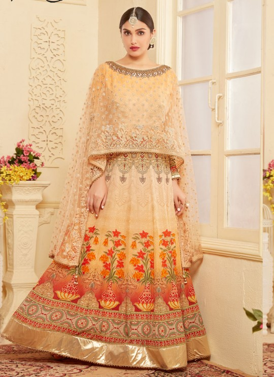 Orange Georgette Anarkali With Cape Top DEERHAM 2 2679 By Your Choice