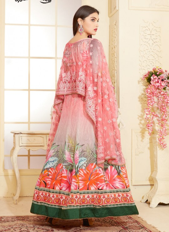Pink Georgette Anarkali With Cape Top DEERHAM 2 2680 By Your Choice