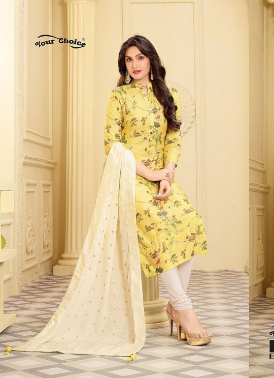 Yellow Rayon Churidar Suit EMAAR 2755 By Your Choice