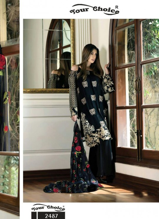 Black Georgette Pakistani Suit FEMEENA 3 2487 By Your Choice