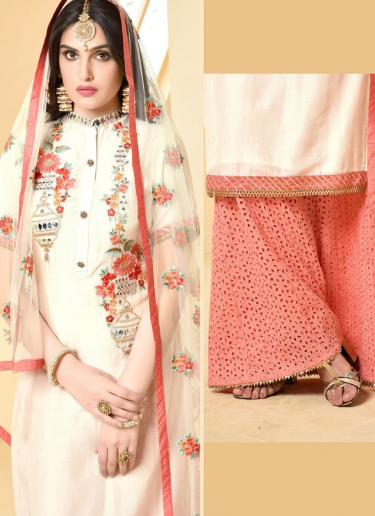 Cream Jam Silk Cotton Garara Salwar Kameez GARARA 2896 By Your Choice