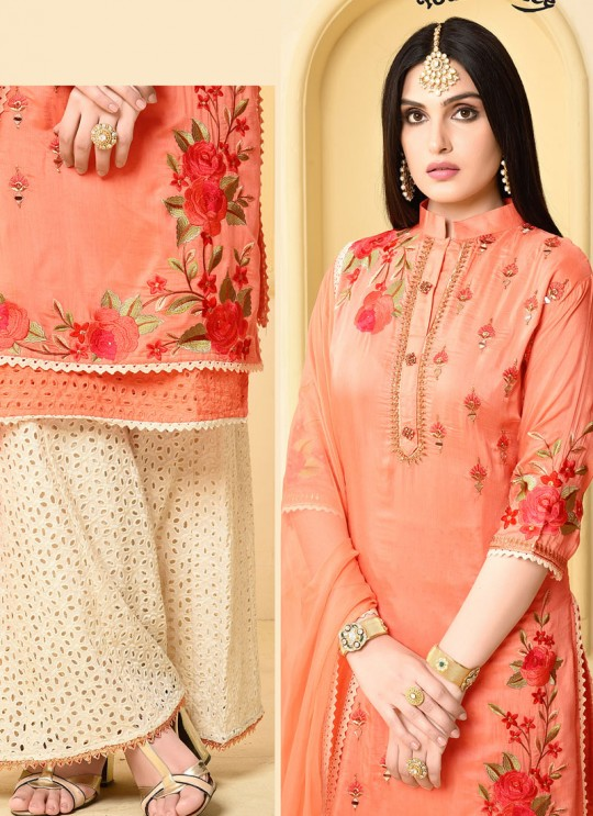 Orange Jam Silk Cotton Garara Salwar Kameez GARARA 2899 By Your Choice