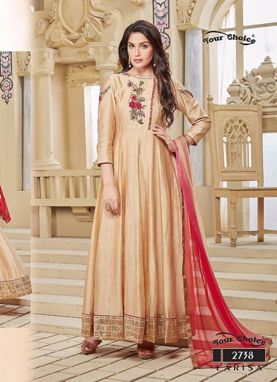 Peach Art Silk Anarkali Churidar LARISA 2738 By Your Choice