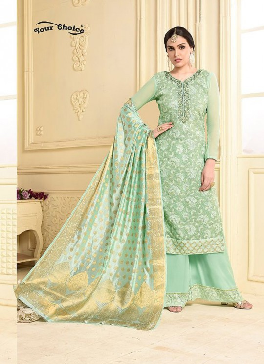 Pista Green Bamberg Georgette Palazzo Suit LASHA 2901 By Your Choice