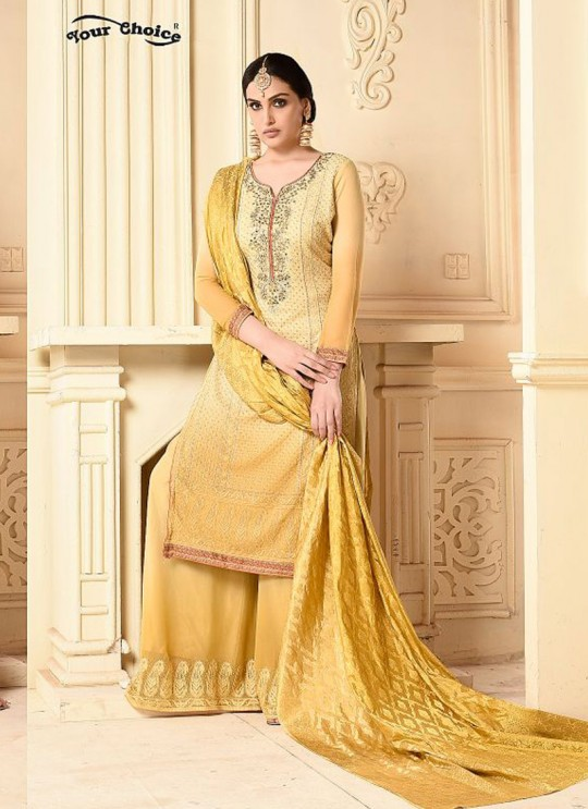 Yellow Bamberg Georgette Palazzo Suit LASHA 2903 By Your Choice