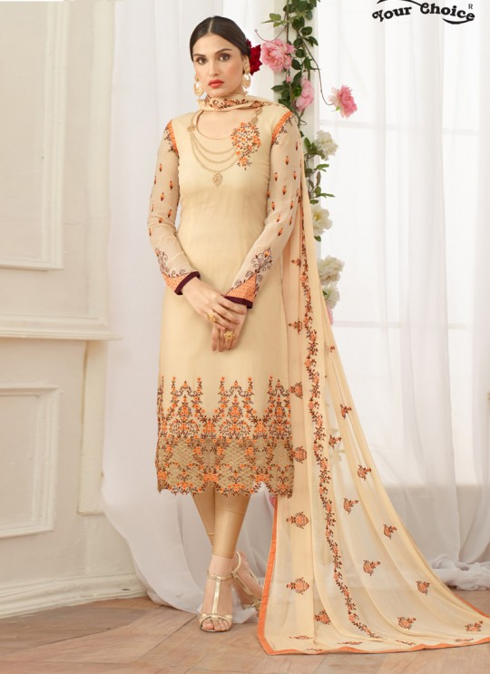 Beige Georgette Straight Cut Suit NAAZ 2639 By Your Choice